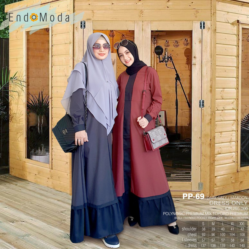 Gamis Endomoda PP 69 Dark Grey