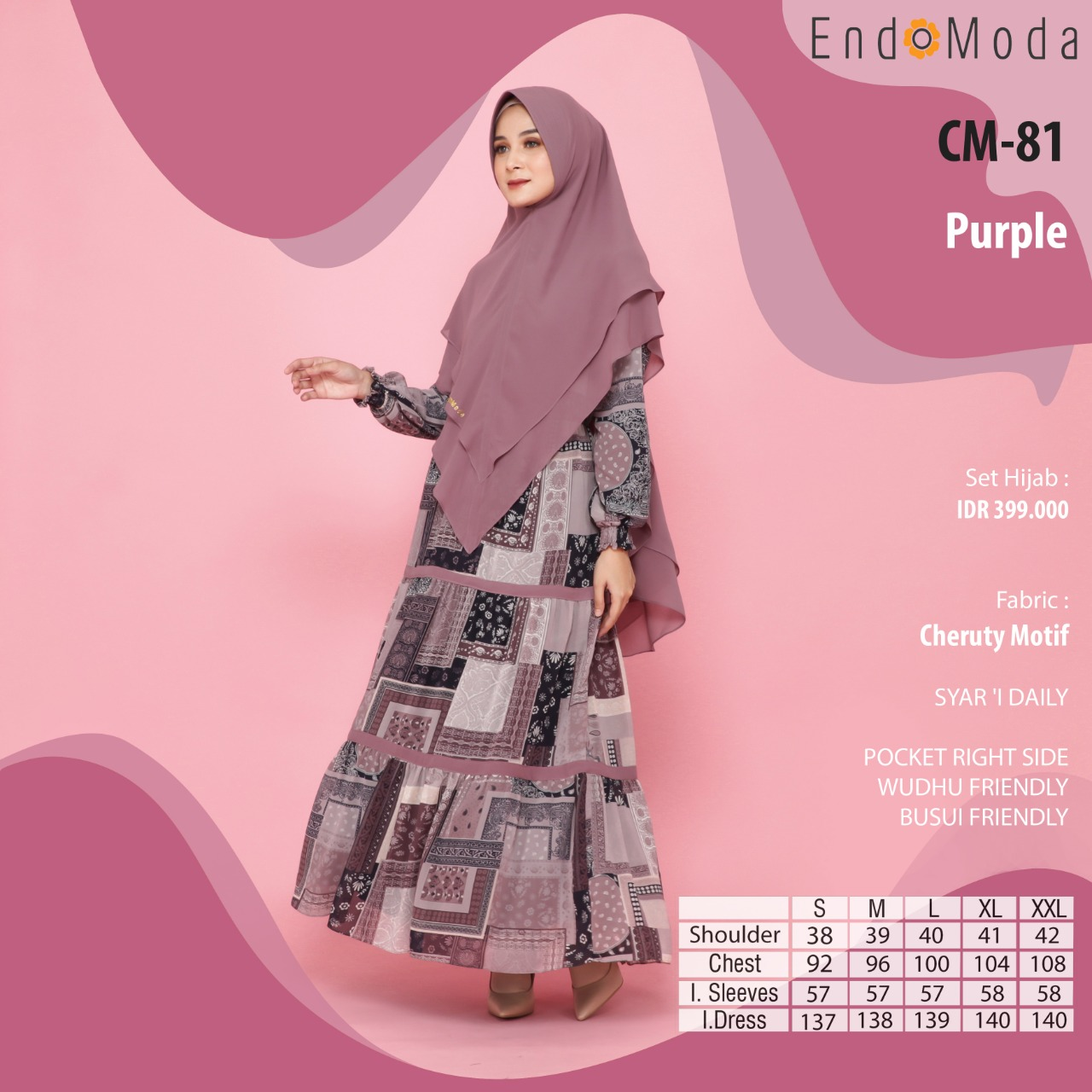 Gamis Endomoda CM 81 Purple