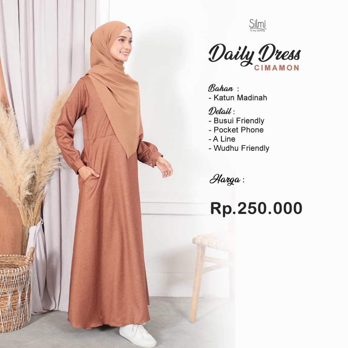 Silmi Daily Dress Katun Madinah  Cinamon