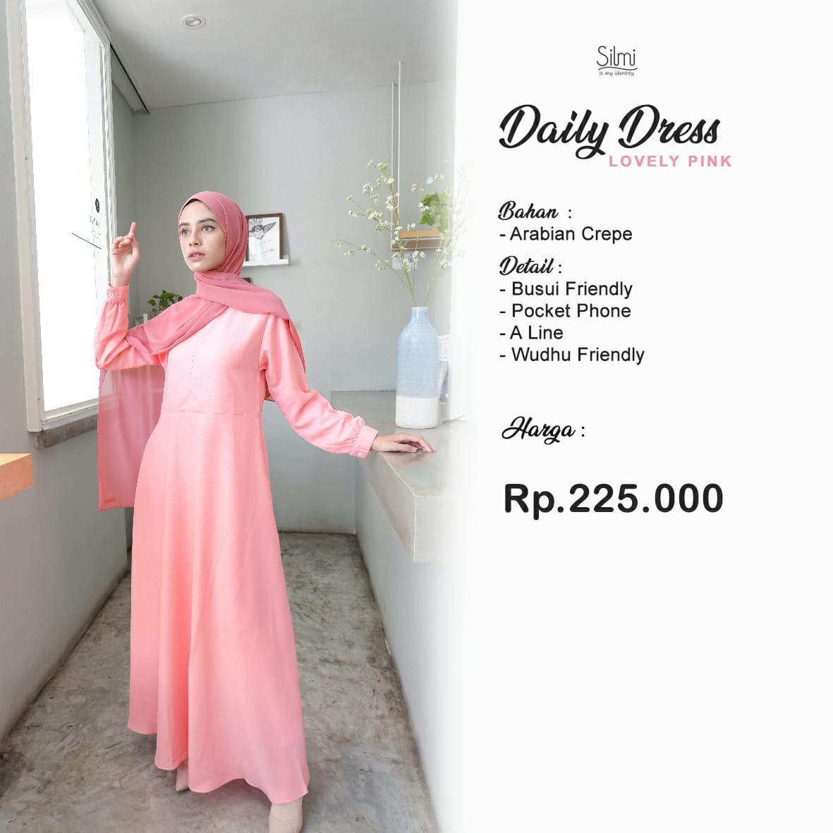 Silmi Daily Dress Arabian Crepe Lovely Pink