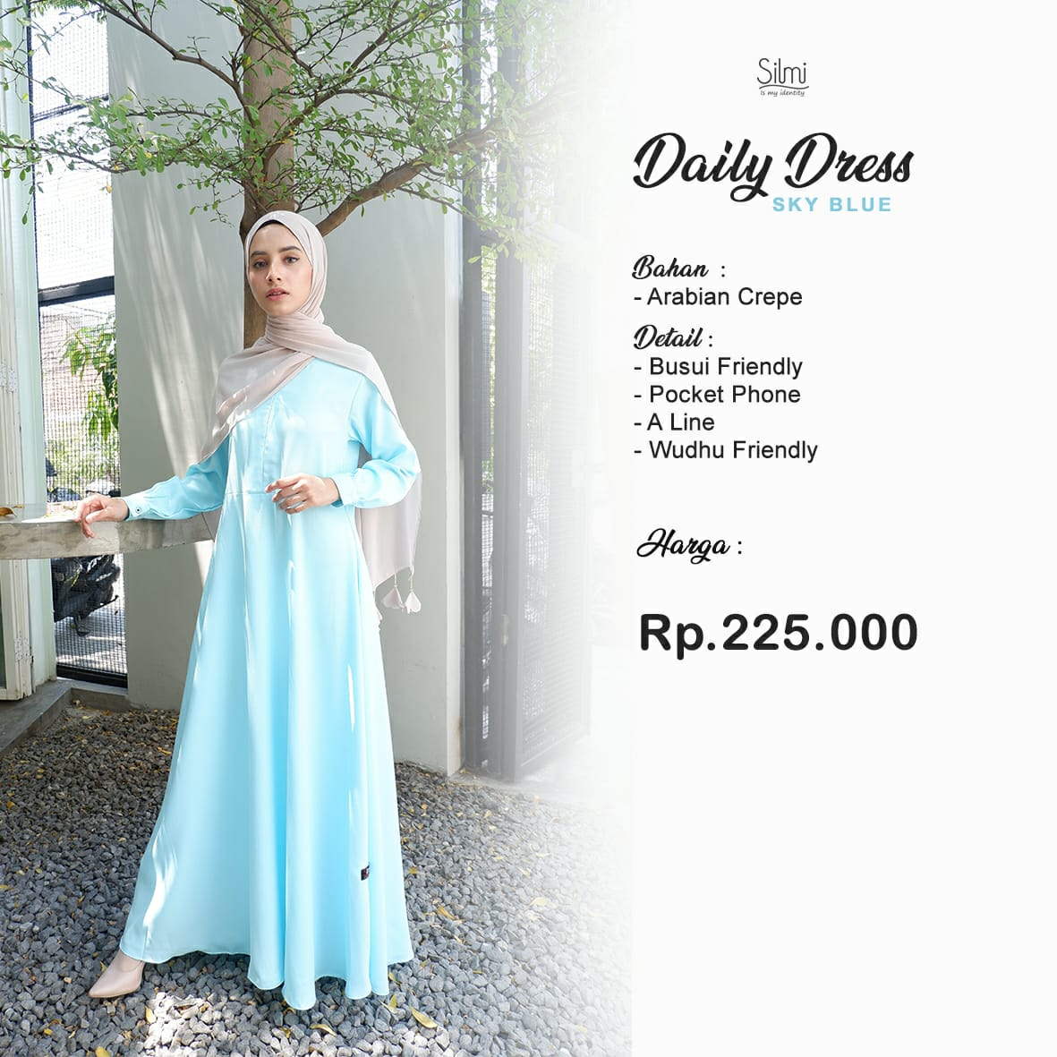 Silmi Daily Dress Arabian Crepe Sky Blue