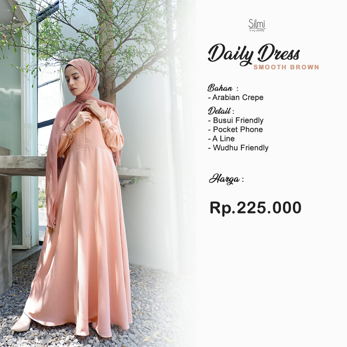 Silmi Daily Dress Arabian Crepe Smooth Brown