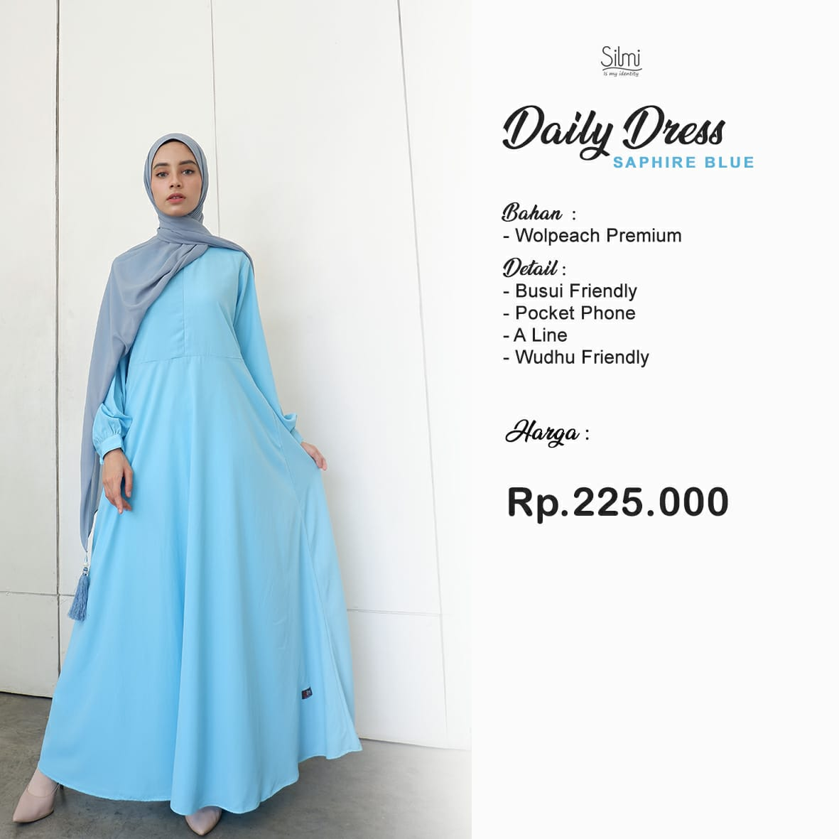 Silmi Daily Dress Wolpeach Saphire Blue