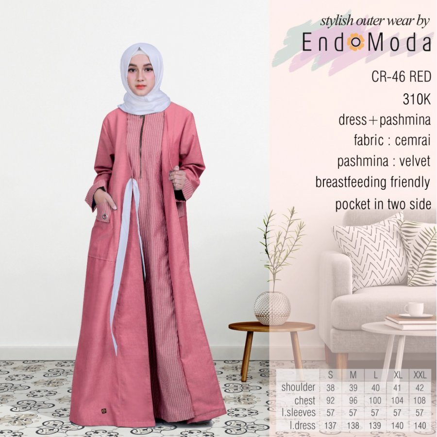 Gamis Endomoda CR 46 Red