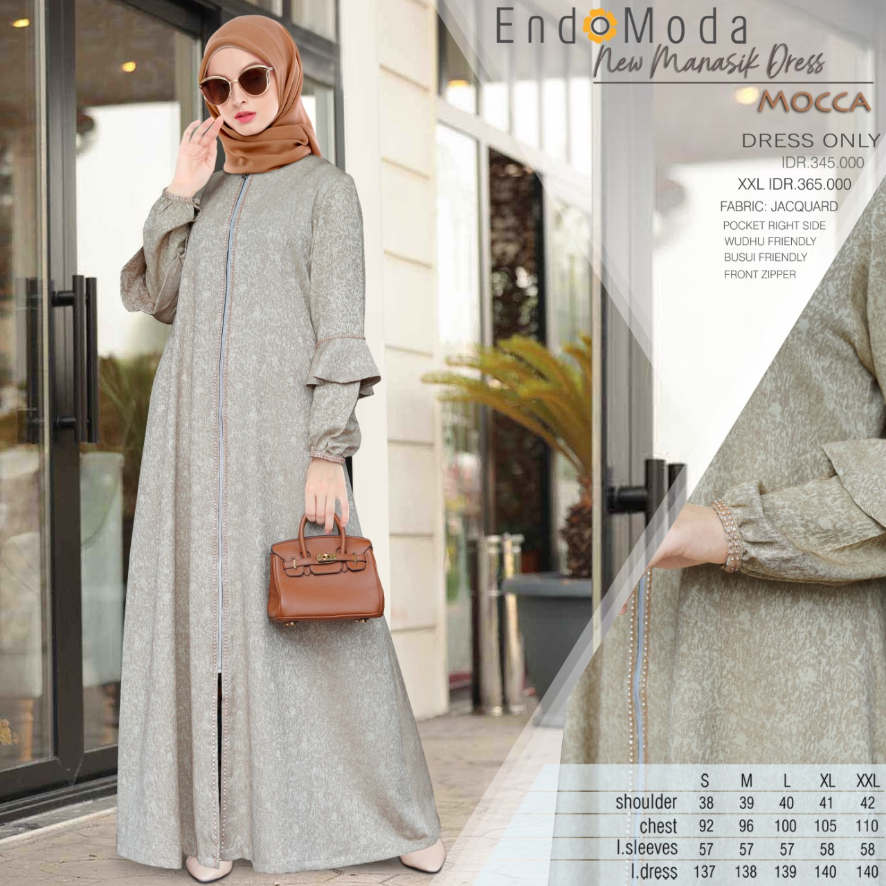 Gamis Endomoda New Manasik Dress Mocca