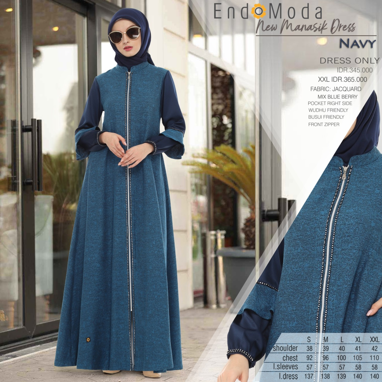 Gamis Endomoda New Manasik Dress Navy