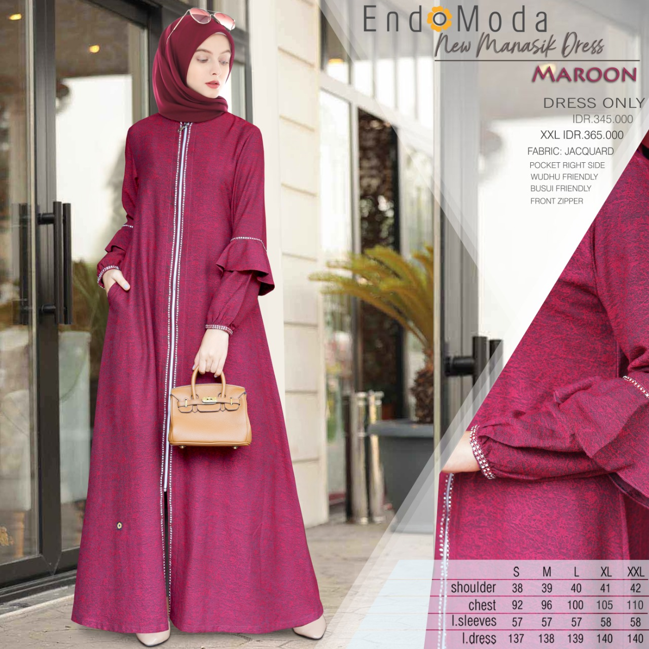 Gamis Endomoda New Manasik Dress Maroon
