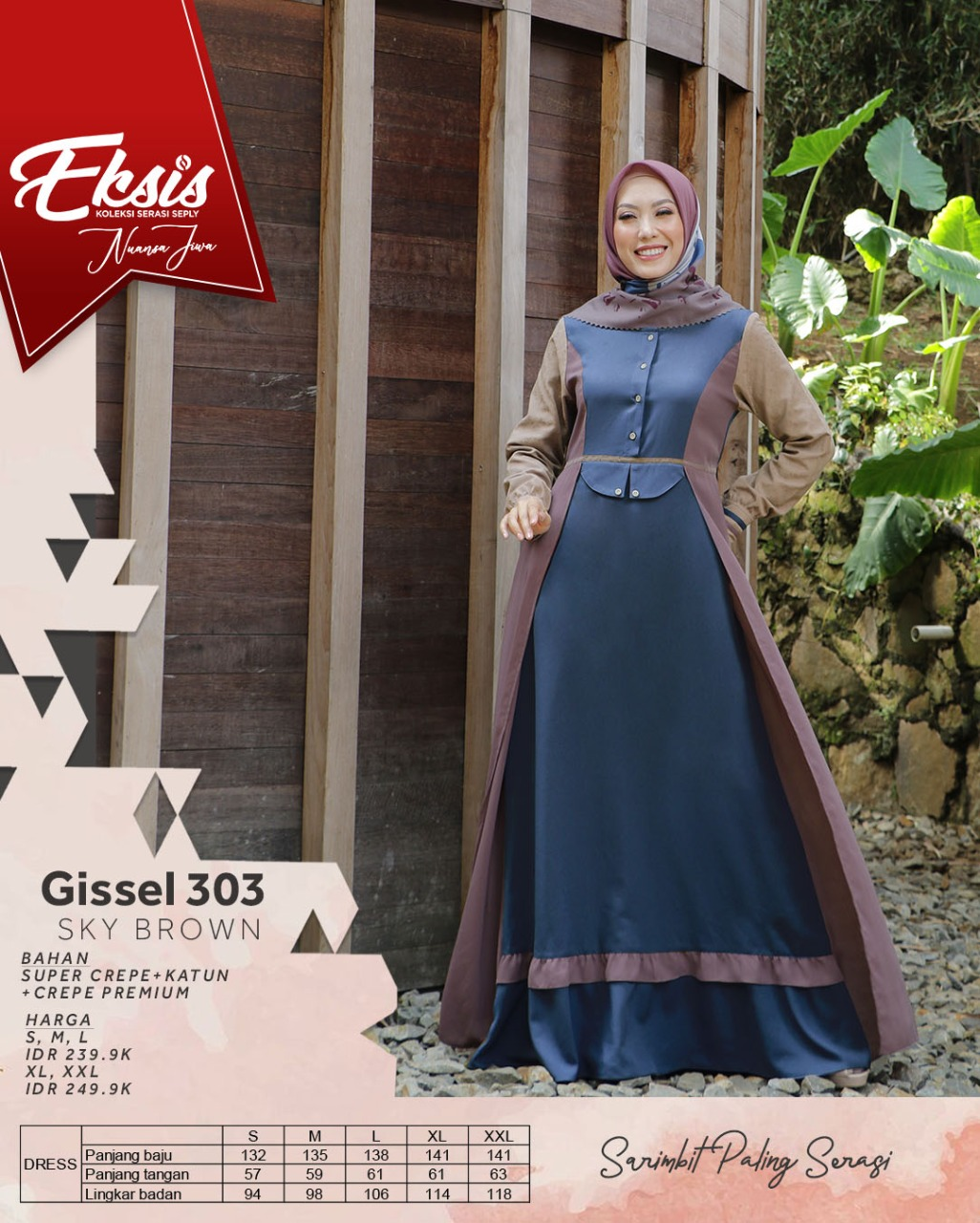 Gamis Dewasa Seply Eksis 151 Sky Brown