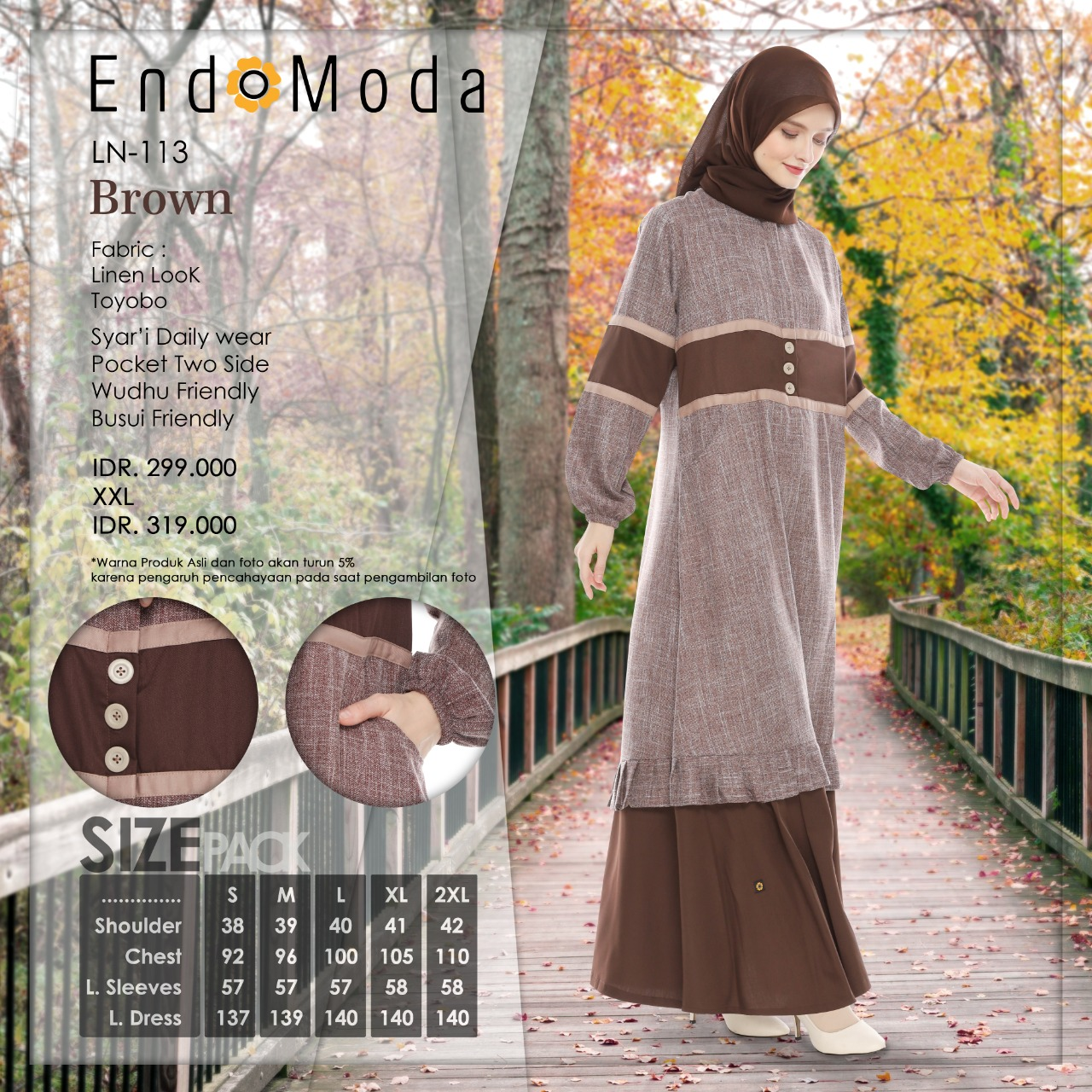 Gamis Endomoda LN 113 Brown