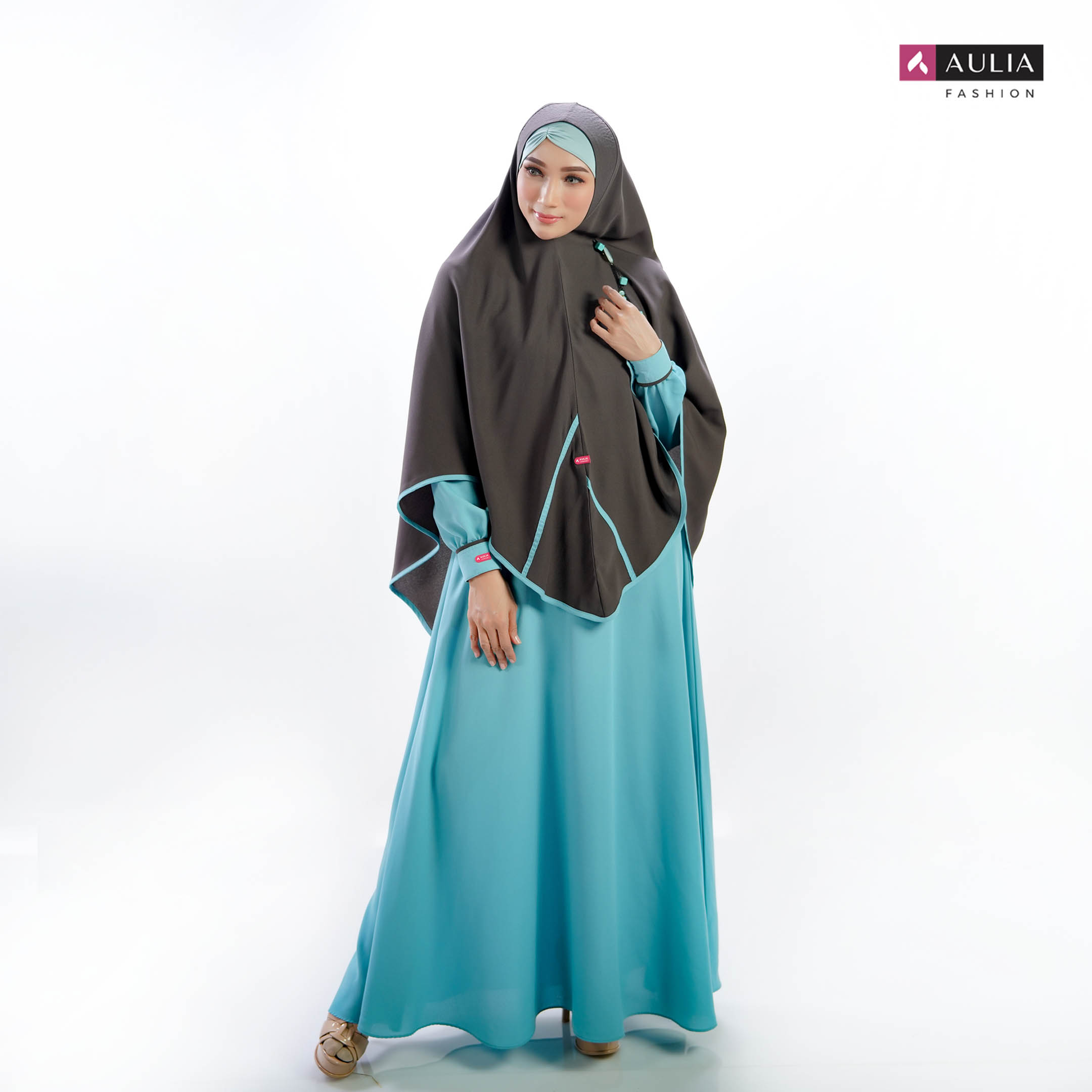 Set Gamis Qaureen Ice Blue